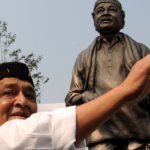 BHUPEN HAZARIKA with STATUE IN GUWAHATI