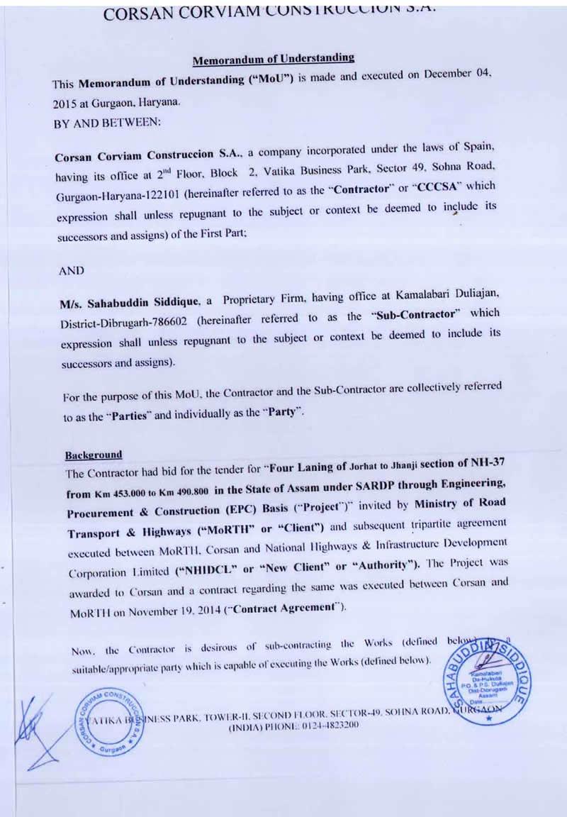 MoU between CORSAN CORVIAM CONSTRUCCION S.A. & M/s Sahabuddin Siddique